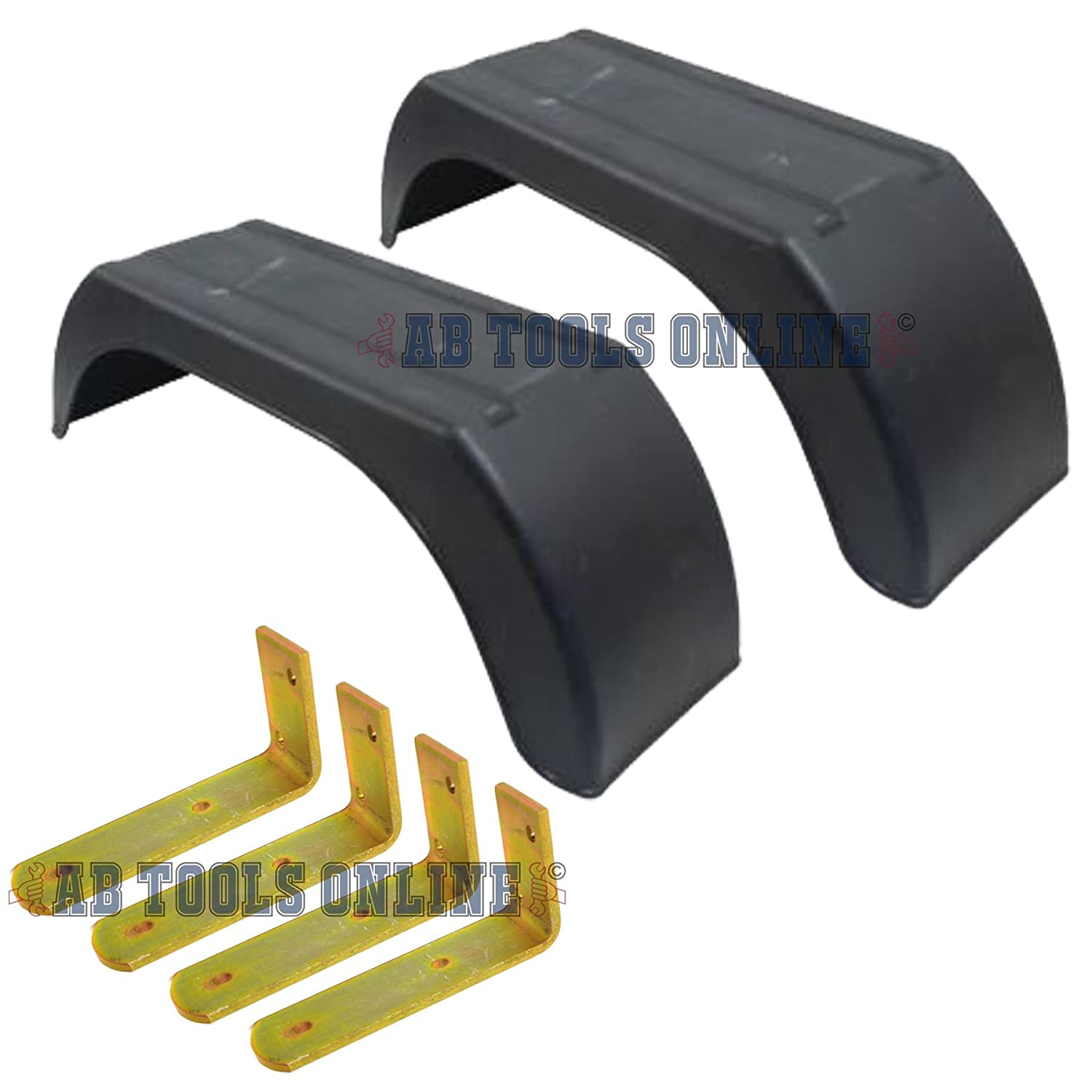 8' Plastic Mudguards Fender (Pair) Flush Fit & Mud Guard Angle (SMALL) Brackets (4 Pack) AB Tools