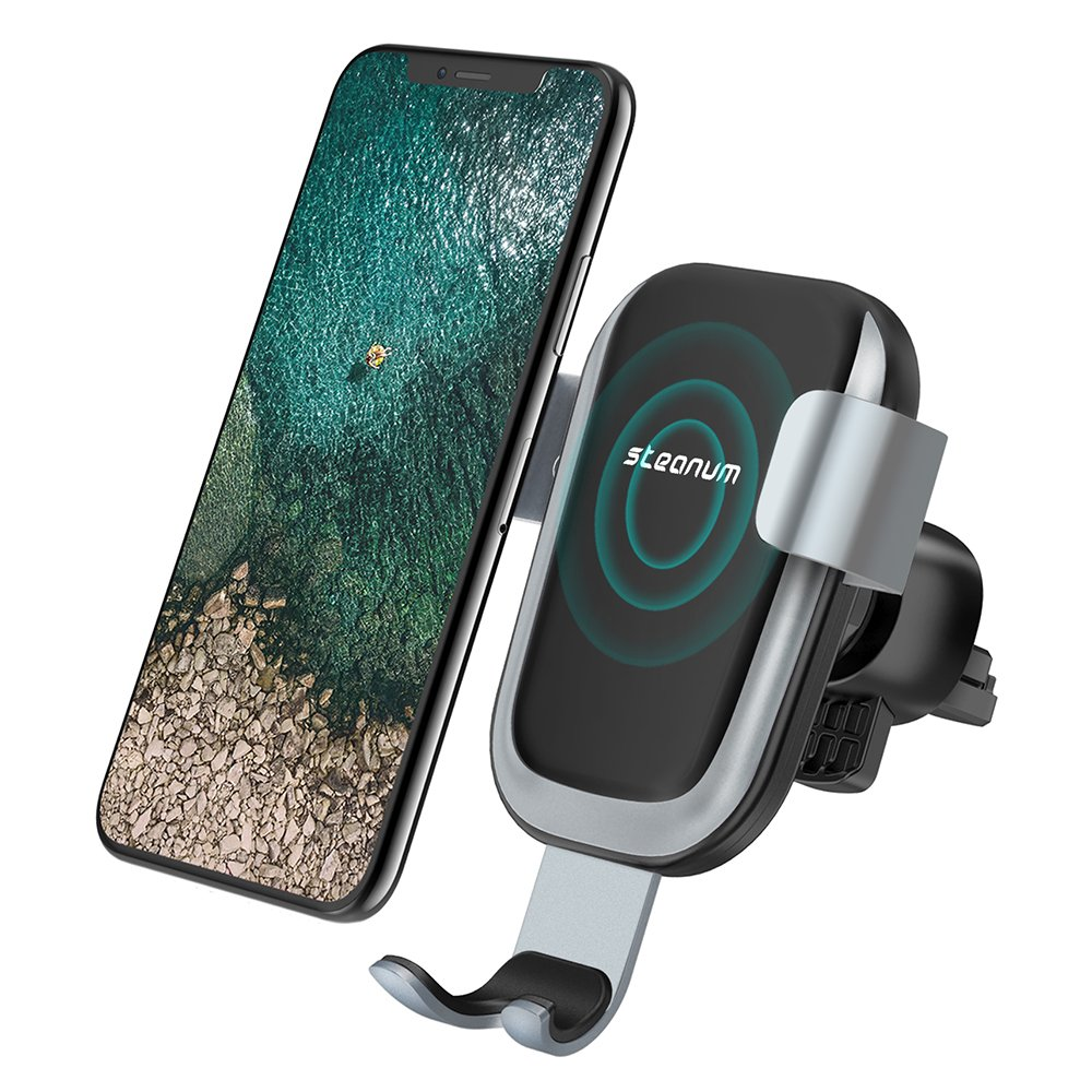 Wireless Car Charger, Steanum QI Gravity Car Mount Air Vent Phone Holder, Fast Charge for Samsung Galaxy S9 S8 S7/S7 Edge, Note 5, Standard Charge for iPhone XS/XS MAX/XR/X , 8/8 Plus and Qi Enabled Devices WICH002