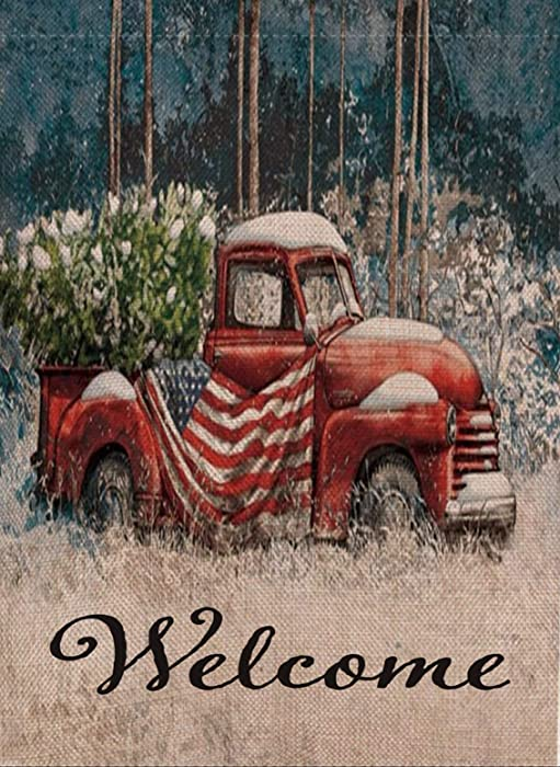 Selmad Home Decorative Welcome Christmas Garden Flag Red Truck Double Sided, USA Patriotic Rustic Quote House Yard Flag Xmas Pickup, Outside Winter Holiday Decorations, Seasonal Outdoor Flag 12 x 18