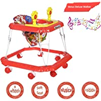 Dash Venus Deluxe Musical Baby Walker with Cushioned Seat, Rattle, Light and Horn (Red)