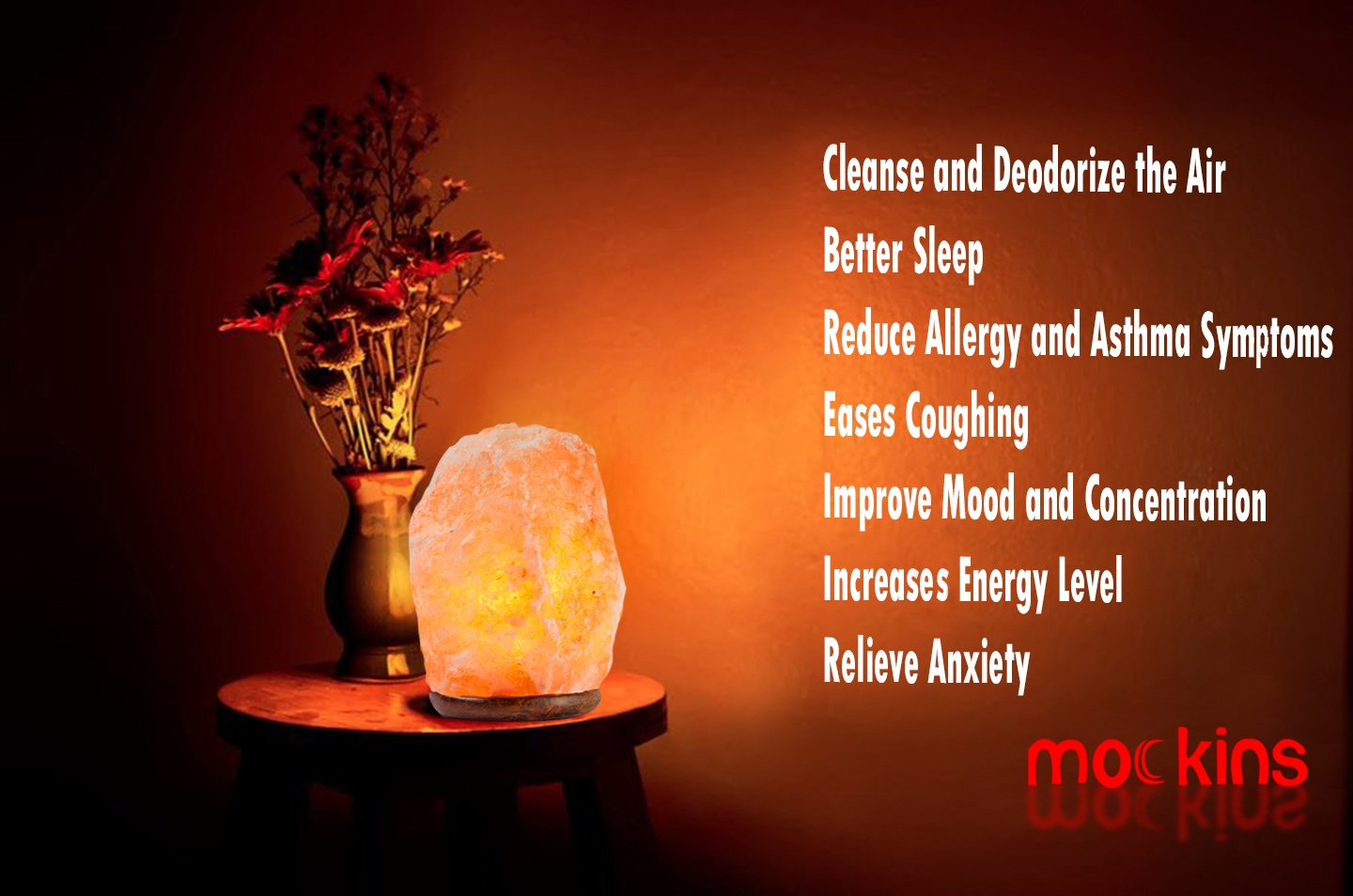Mockins 2 PACK Natural Hand Carved Himalayan Salt Lamp With A Stylish Wood Base & Bulb With On and Off Switch 6-8 Inches 5-7 lbs by Mockins (Image #3)