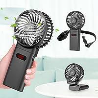 ZEEFO Mini Hand Held Fan,Draagbare Opvouwbare USB-ventilatoren met Smart Led Digital Display,Stille Bureau Ventilator…