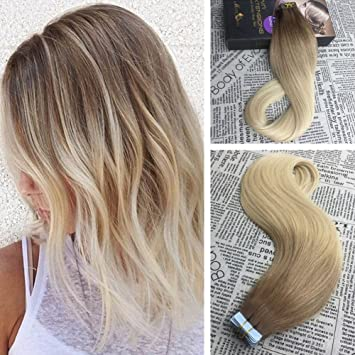 Amazon Com Moresoo 16 Inch Tape In Ombre Hair Extensions Human