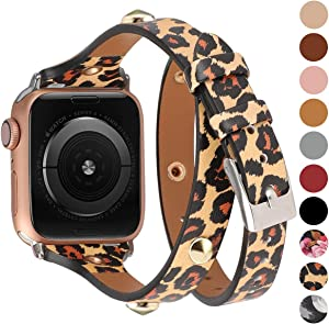Moolia Compatible for Apple Watch Band 38mm 40mm for Women,Slim Leather Double Wrap Watch Bands Strap Replacement for iWatch SE Series 6 Series 5 Series 4 Series 3 Series 2 Series 1,Leopard