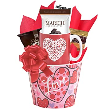 Endless Love Valentine Hearts Gift Basket For Her Perfect