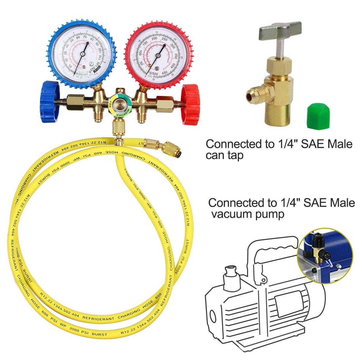 Latinaric Diagnostic Manifold Gauge Set Charging Hose R12 R22 R502 AC Refrigerant 3 FT