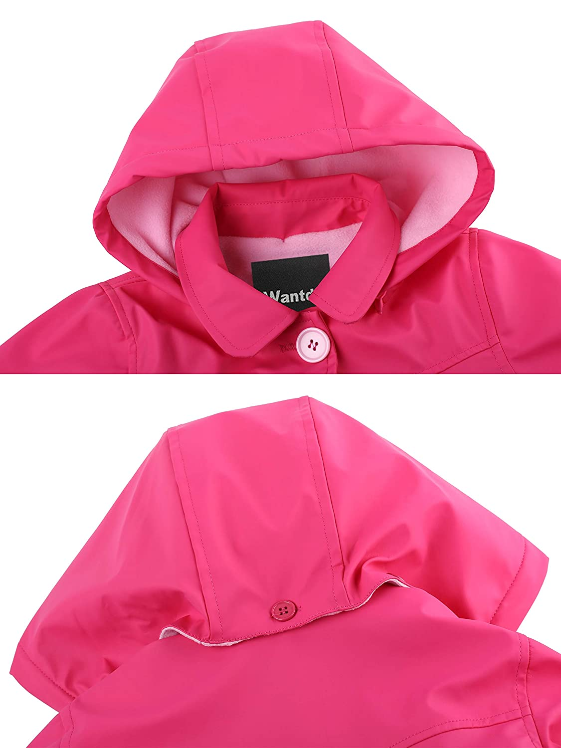 Wantdo Girls and Boys Hooded Rain Jacket Windproof Fleece Raincoat