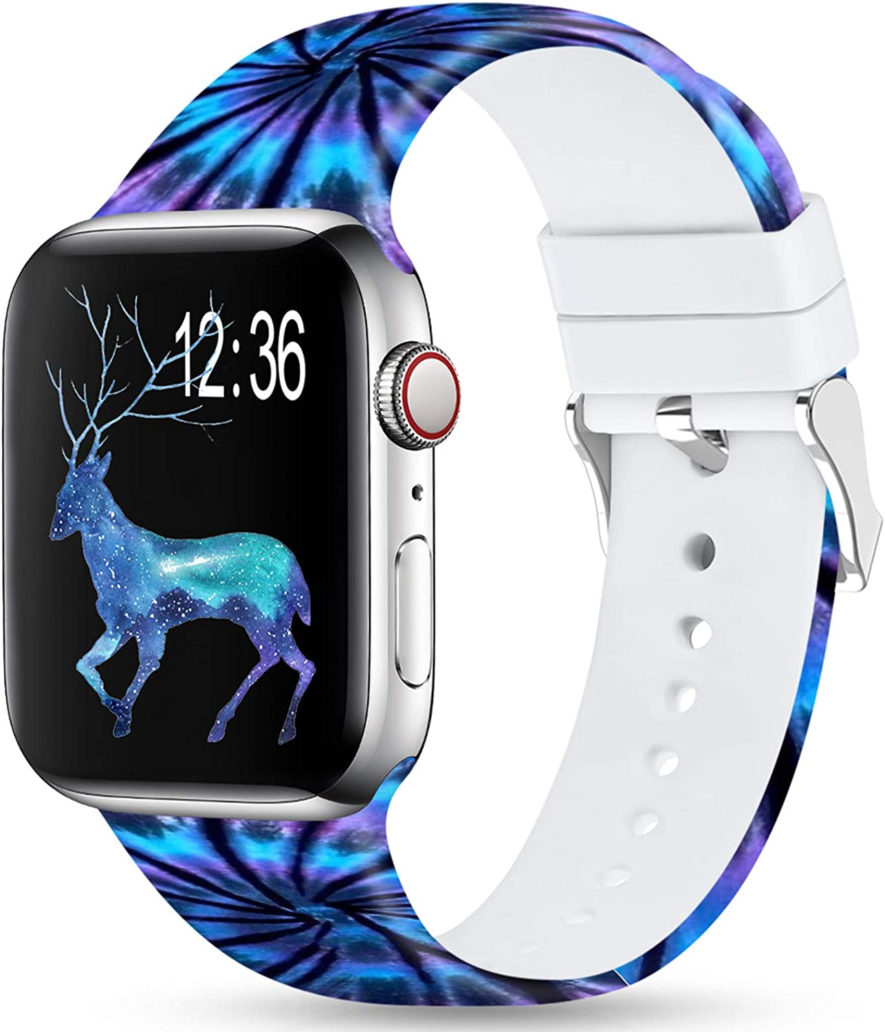Merlion Compatible With Apple Watch Band 38mm 42mm 40mm 44mm For Women/Men,Silicone Fadeless Pattern Printed Replacement floral Bands for iWatch Series 4/3/2/1 (Mist, 42MM/44MM)