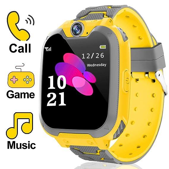 Reloj inteligente para niños y niñas – Reloj inteligente de juego para niños con dos vías de llamada SOS juegos cámara música Player, niños reloj de ...