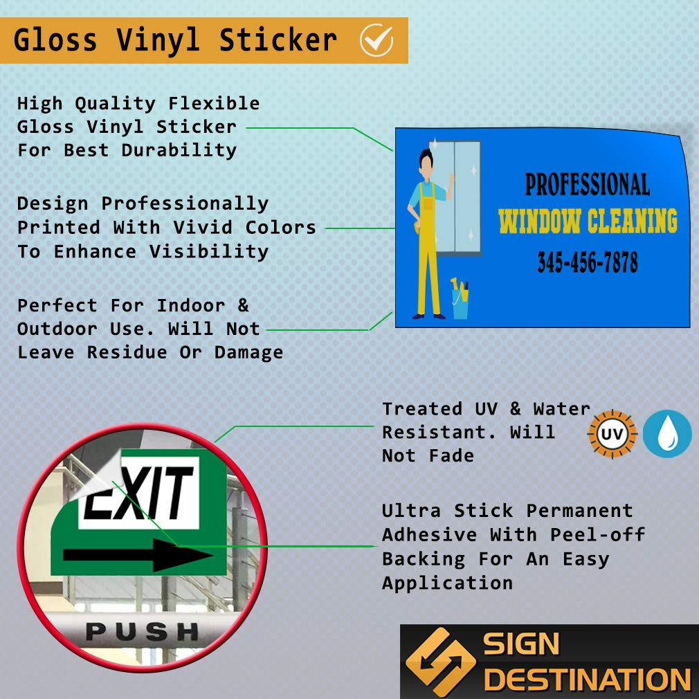 Custom Door Decals Vinyl Stickers Multiple Sizes Professional Window Cleaning B Business Professional Window Cleaning Outdoor Luggage /& Bumper Stickers for Cars Blue 66X44Inches Set of 2