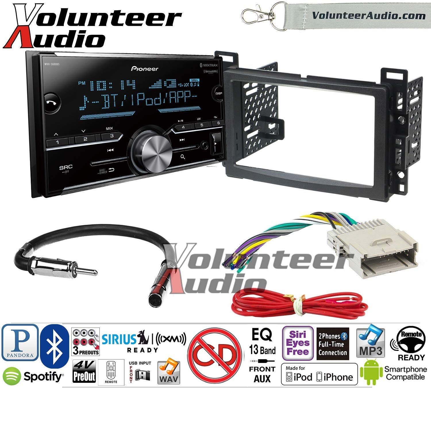 Volunteer Audio Pioneer MVH-S600BS Double Din Radio Install Kit with Bluetooth USB/AUX Fits 2004-2007 Chevrolet Malibu, 2005-2009 Pontiac G6 (Non-Amplified only)