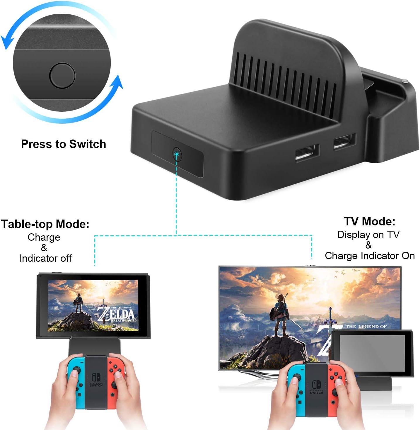 Ponkor Base de Carga para Nintendo Switch, Mini Switch TV Dock Soporte de Carga, Protable Adaptador HDMI Reemplazo de Carga para Nintendo Switch con USB 3.0 LED Light: Amazon.es: Videojuegos