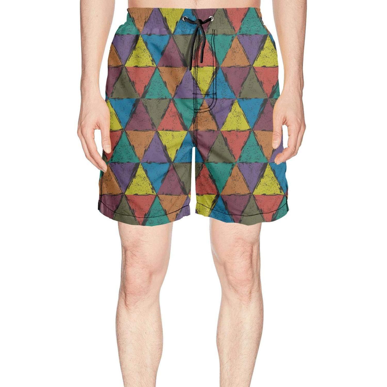Custom Colorful Triangle Diamond Quick Dry Mens Swimming Trunks Short