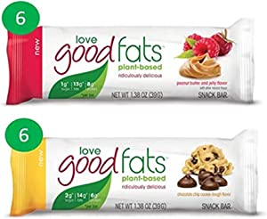 Love Good Fats Plant Based Bars (Vegan, Keto Friendly Food, Low Carb Snack, Low Net Carbs, Low Sugar, Gluten Free, Non GMO) 39g x 12 bars (peanut butter and jelly) (VARIETY PACK)
