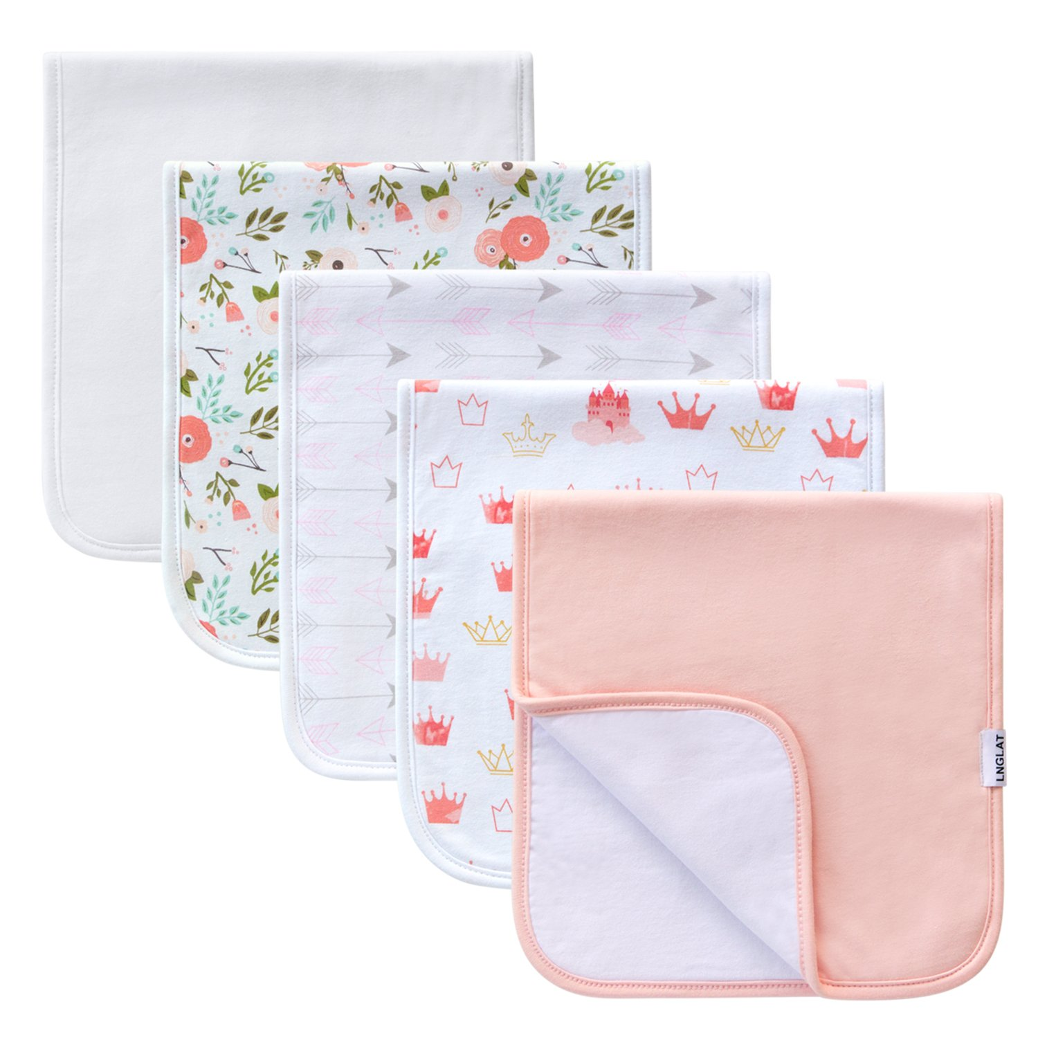 100/% Organic Cotton Baby Shower Gift Set by LNGLAT Thick Triple Layer Burping Rags for Newborns Soft and Absorbent Towels 5-Pack Baby Burp Cloths for Boys and Girls