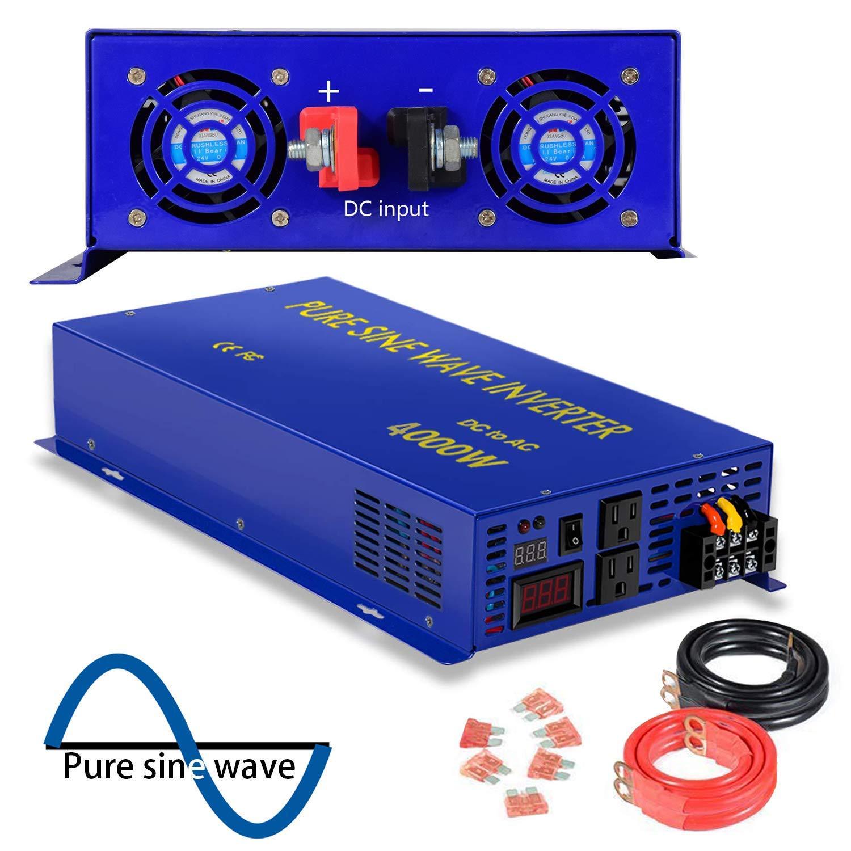 XYZ INVT Power Inverter Pure Sine Wave 4000Watt 12V DC to 110V 120V Dual AC Outlets for CPAP RV Car Solar System Emergency