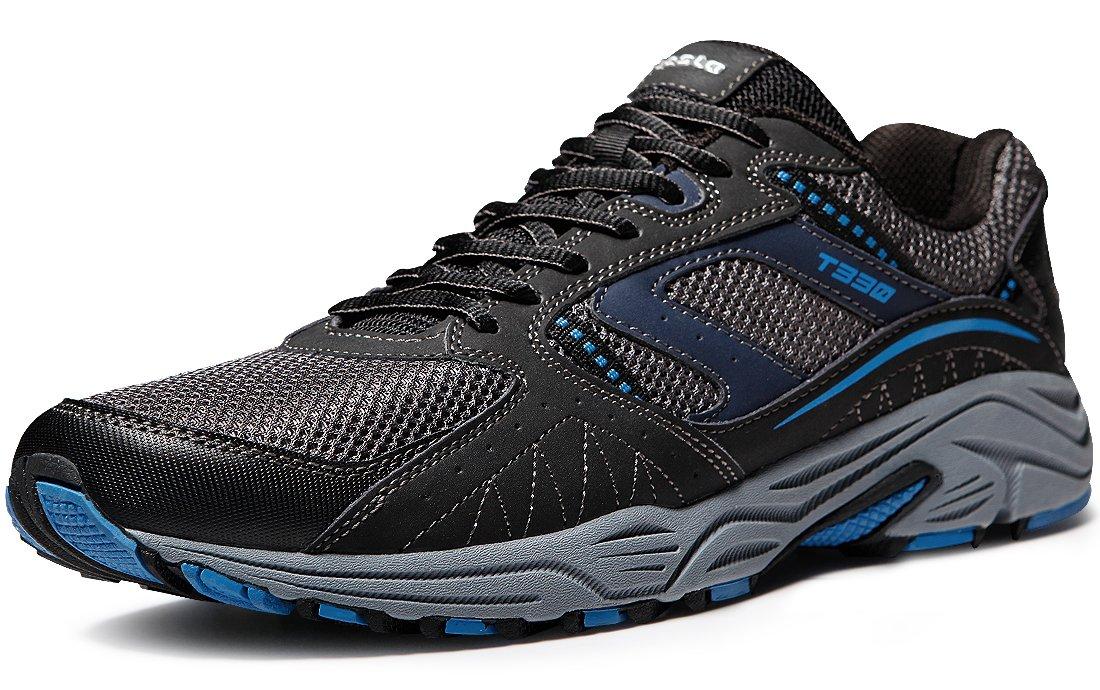 12332a36ce490 TSLA Men's Outdoor Sneakers Trail Running Shoe, Outdoor(t330) - Dark Grey &  Navy, 9