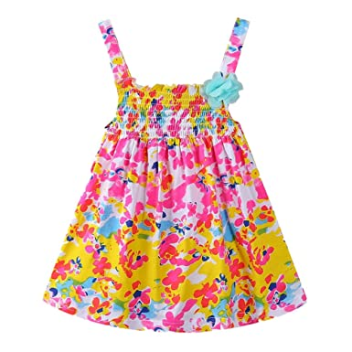 6fba578da93 LittleSpring Newborn Dress Baby Girl Easter Summer Colorful Floral Party  Dress 0-3 Months