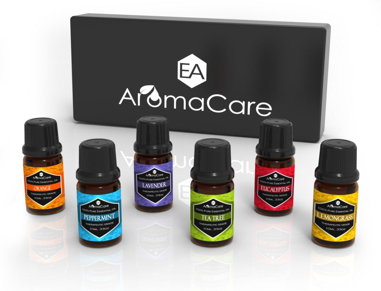 EA Aromacare Aromatherapy Essential Oils Gift Set,Therapeutic Grade, 100% Pure (Lavender,Peppermint,Lemongrass,Tea Tree,Eucalyptus,Orange & e-book) Massage Essential Oils, (Black)