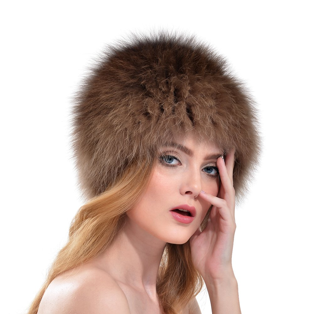 BeadChica Women Fox Fur Winter Hat- Luxurious Warm Skiing Hats Cap For Girls Winter Beanie (Khaki)