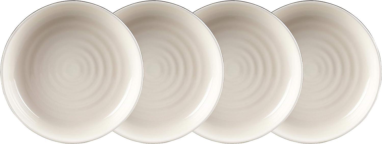 12 Piezas 4 Platos Laterales de 19 cm y 4 Cuencos de 5,5 cm Incluye Llanos de 10,5 Negro y Crema gres Carnaby CRM1232 Pimlico-Juego de vajilla de cer/ámica de Color