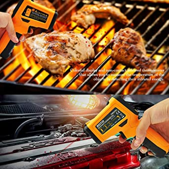 with Laser for Precisely Aiming Bright LCD Display with LED Backlight for Kitchen Cooking BBQ Funiee Infrared Non-Contact Digital Temperaturer
