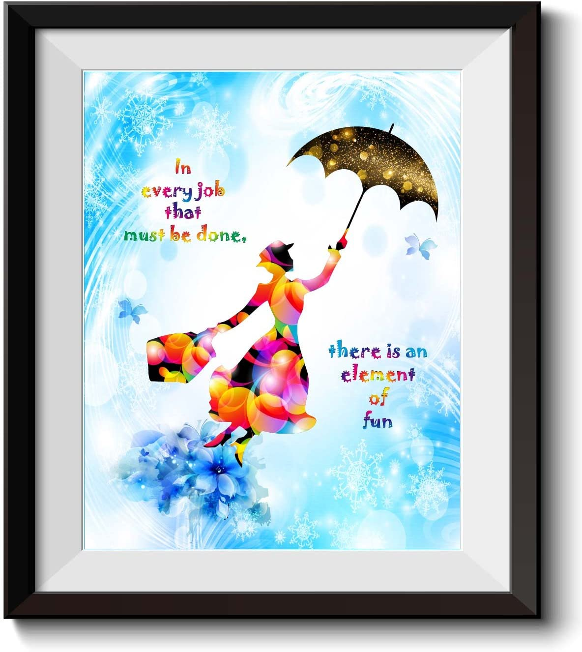 Uhomate Mary Poppins Quotes In Every Job That Must Be Done Quote Home Canvas Prints Wall Art Inspirational Quotes Wall Decor Living Room Bedroom Artwork C028 (8X10)