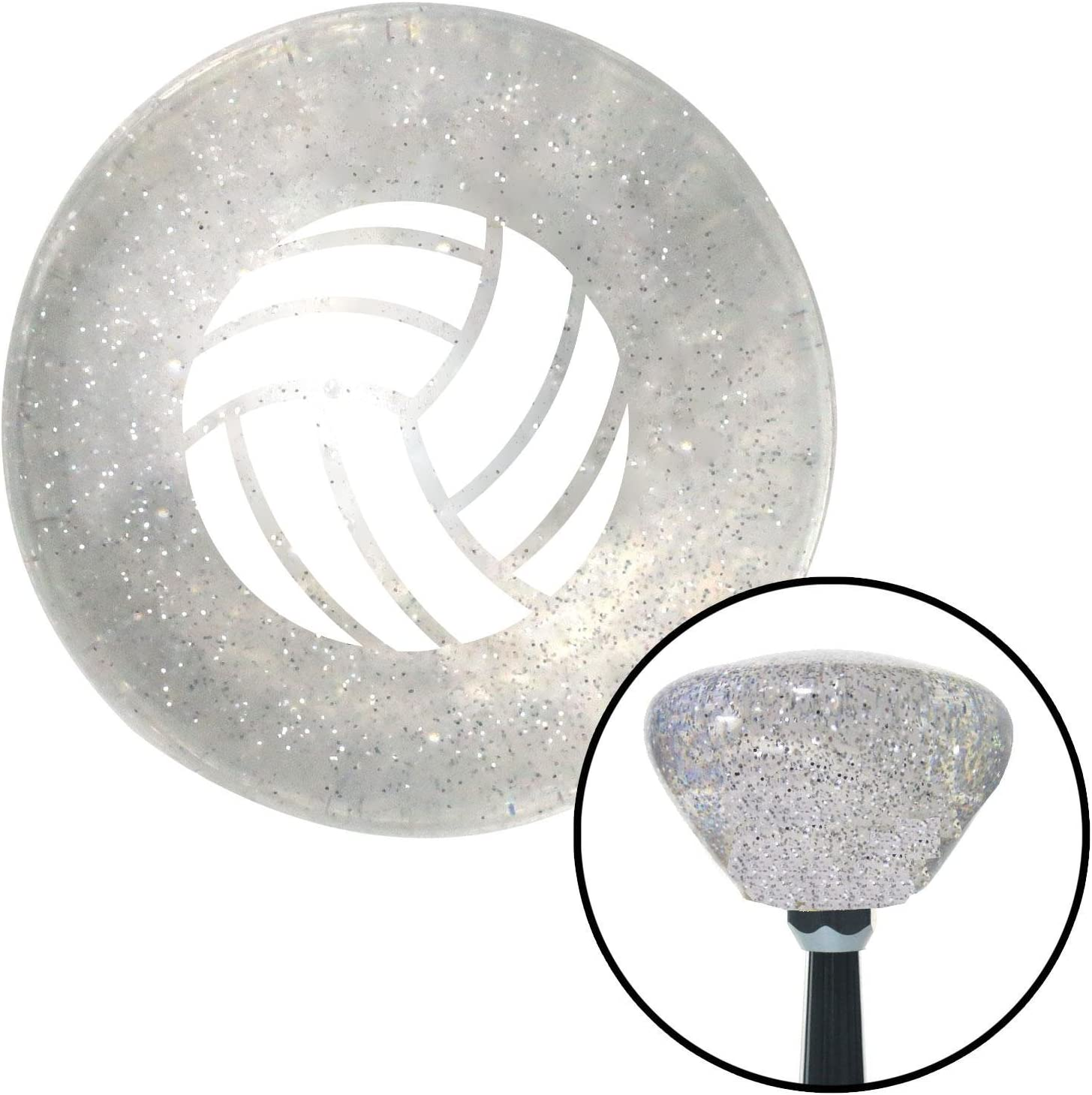 American Shifter 163465 Clear Retro Metal Flake Shift Knob with M16 x 1.5 Insert White Volleyball