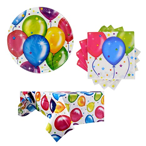 Amazon.com: Platos de papel con temática de globo para ...