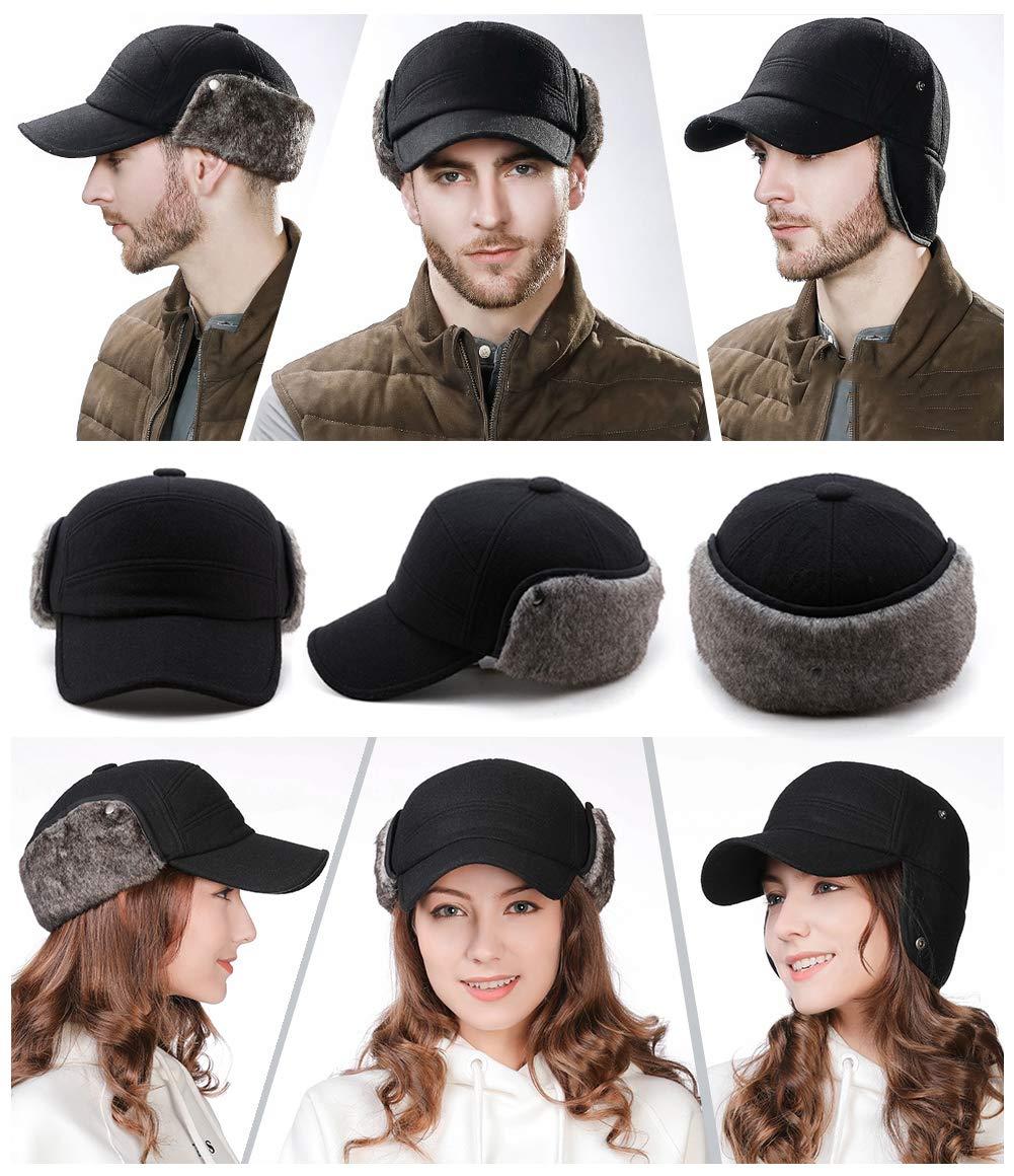 Mens Fitted Wool Baseball Cap Faux Fur Earflap Hunter Winter Army Elmer Fudd Hat Black by Fancet (Image #3)