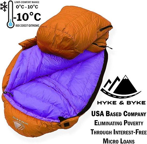 Hyke & Byke Eolus 800 Saco de Dormir de Plumón Ultraligero Momia -10ºC y -15ºC - Saco de Dormir Adulto con Base ClusterLoft - Camping Accesorios Bajas ...