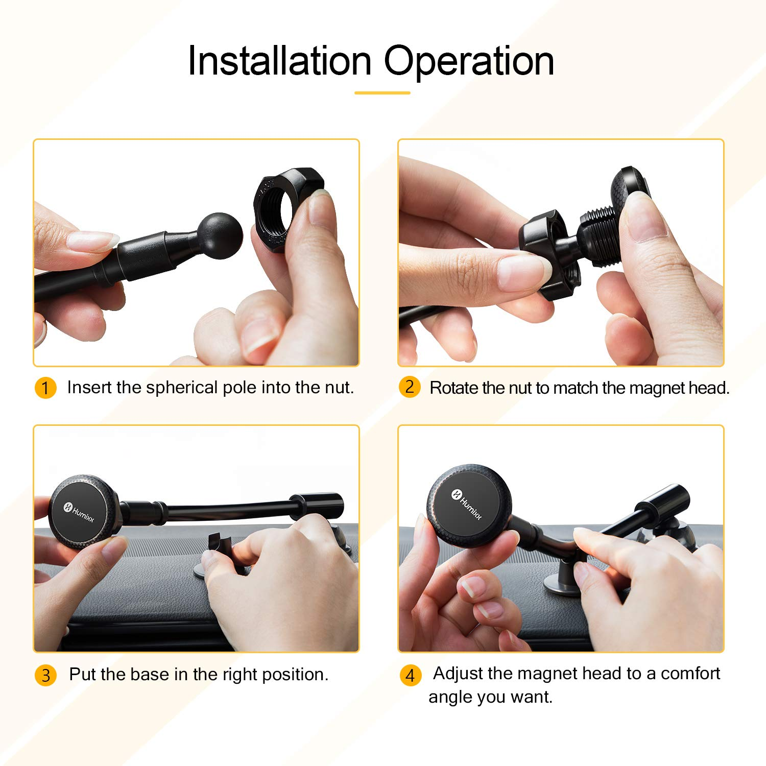 Humixx Long Arm Universal Magnetic Cradle Windshield Dashboard Cell Phone Mount Holder with 4 Metal Plates Car Phone Mount Super Magnetic Phone Car Holder Long Arm for Any Smartphone under 6.5 Inche HX-PH03