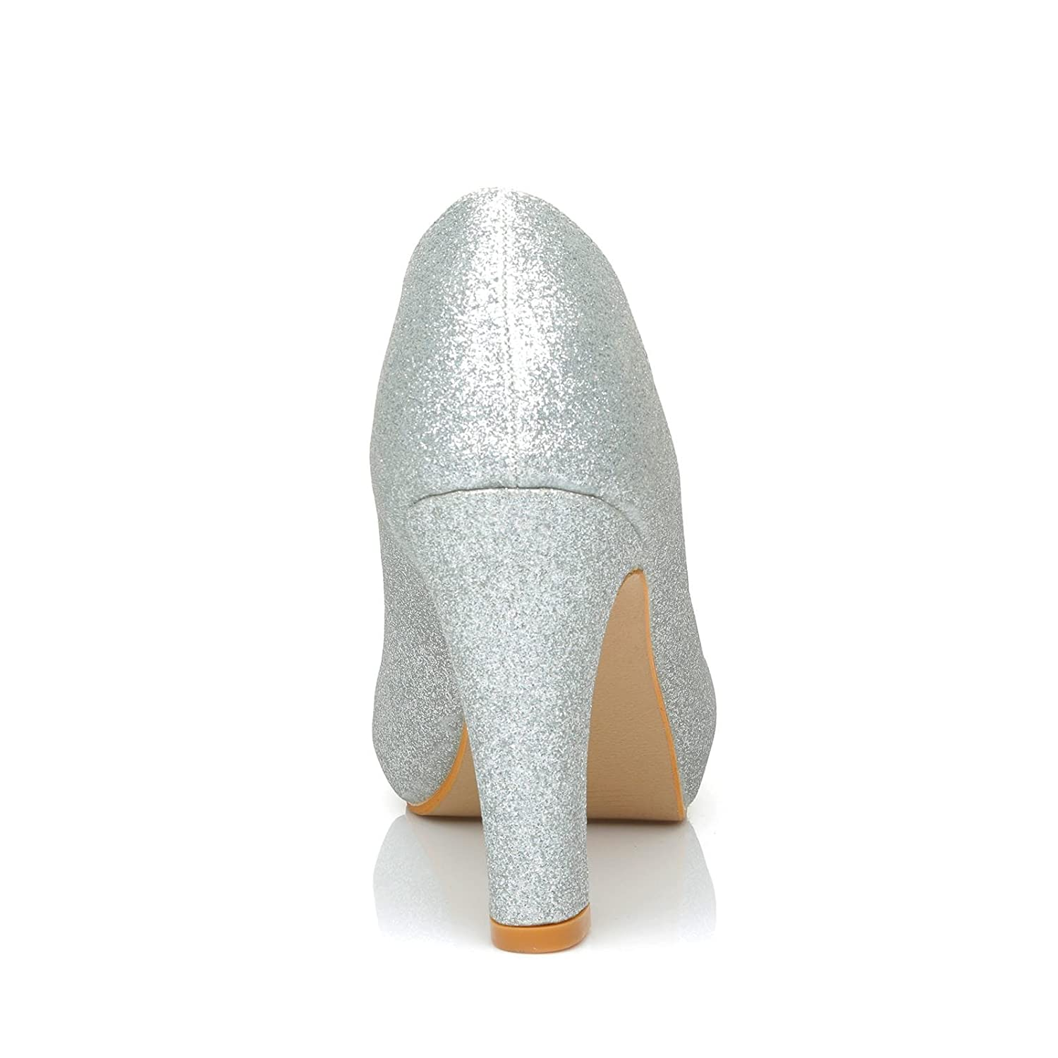 Love Silver Glitter Slim-Block High Heel Platform Court Shoes: Amazon.co.uk: Shoes & Bags
