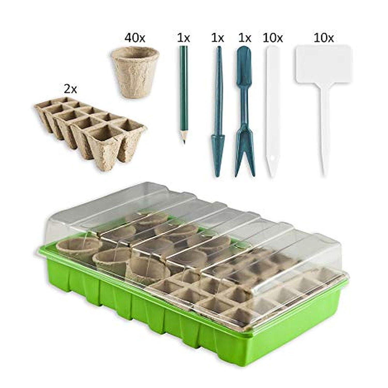 Zimmergewächshaus Gewächshaus Set mit 60 Anzuchttöpfen und 20 Pflanzenschildern Treibhaus Pflanzentöpfe esto24®