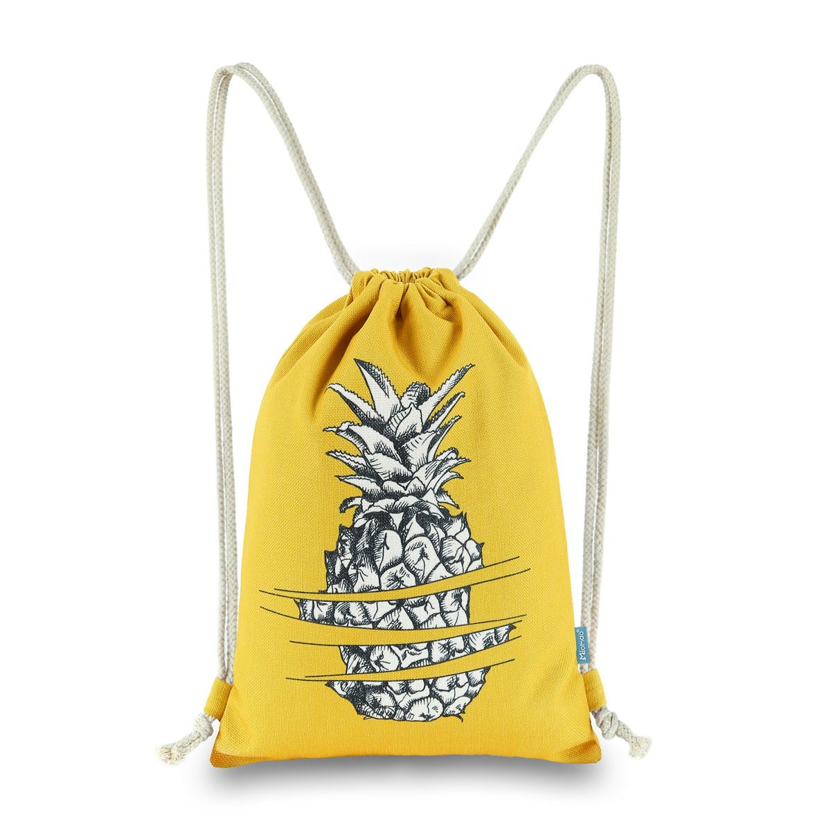 Miomao Drawstring Backpack Gym Sackpack Pineapple Style String Bags Canvas Sinch Sack Sport String Bag Cinch Sack For Man & Women,13'' X 18'', Yellow