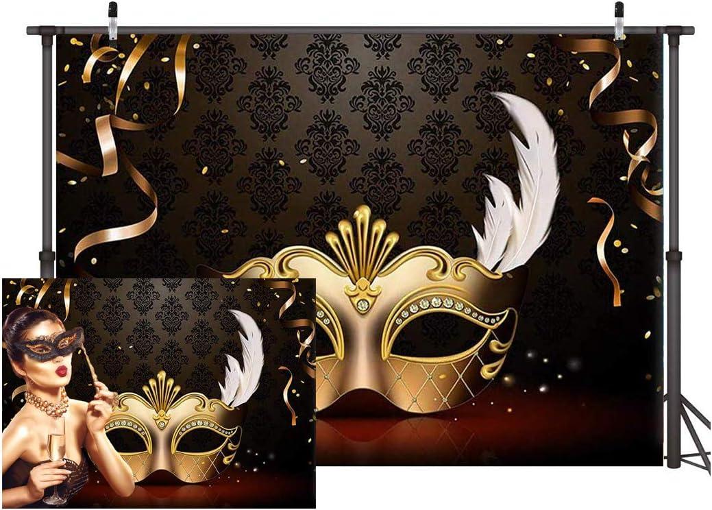 Dudaacvt 7x5FT Mardi Gras Mask Backdrop Carnival Photography Backdrop Masquerade Photography Backdrops Golden Mask Photo Background 149