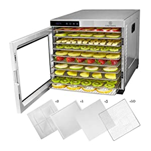 ChefWave 10 Tray Food Dehydrator Machine - Stainless Steel, Digital Temperature Control & Timer, 3 Teflon Sheets, 2 Mesh Sheets and Drip Tray - for Dried Fruit, Jerky, Herbs - Recipe Book Included