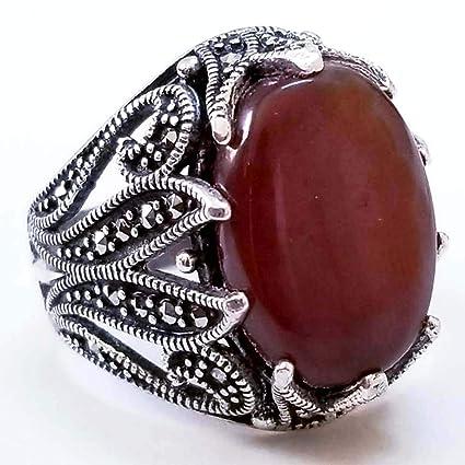 e5f51272fbcf2 Amazon.com: unique 925 sterling silver mens ring genuine red kapidy ...