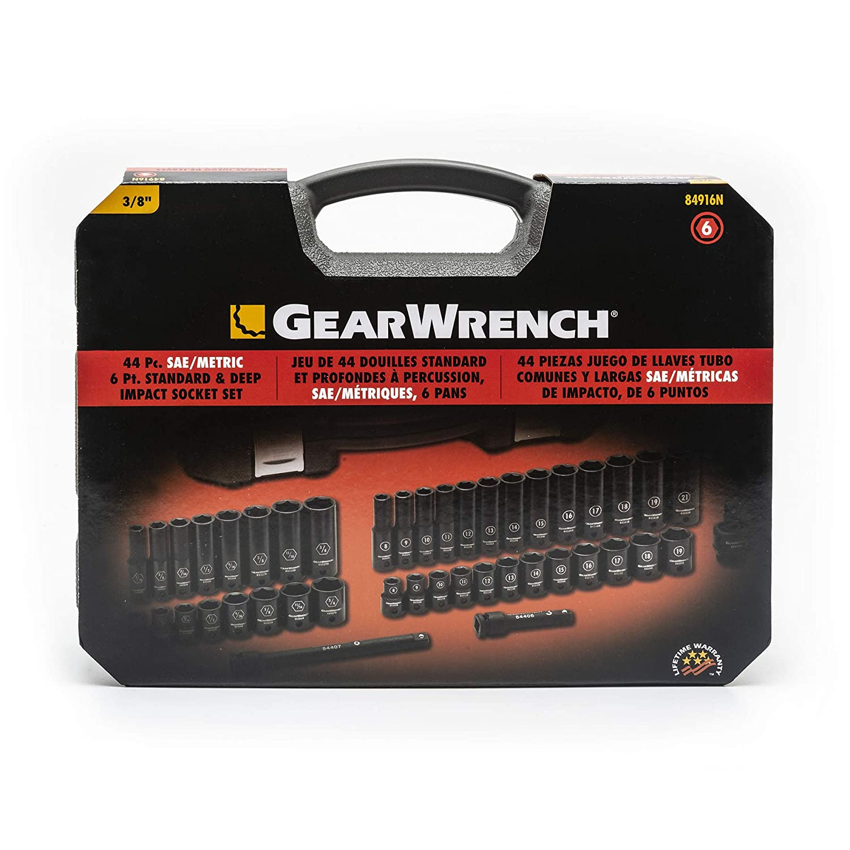 3//8 Drive 6 Point SAE//Metric Std.//Deep Impact Socket GearWrench 84916N 44 Pc