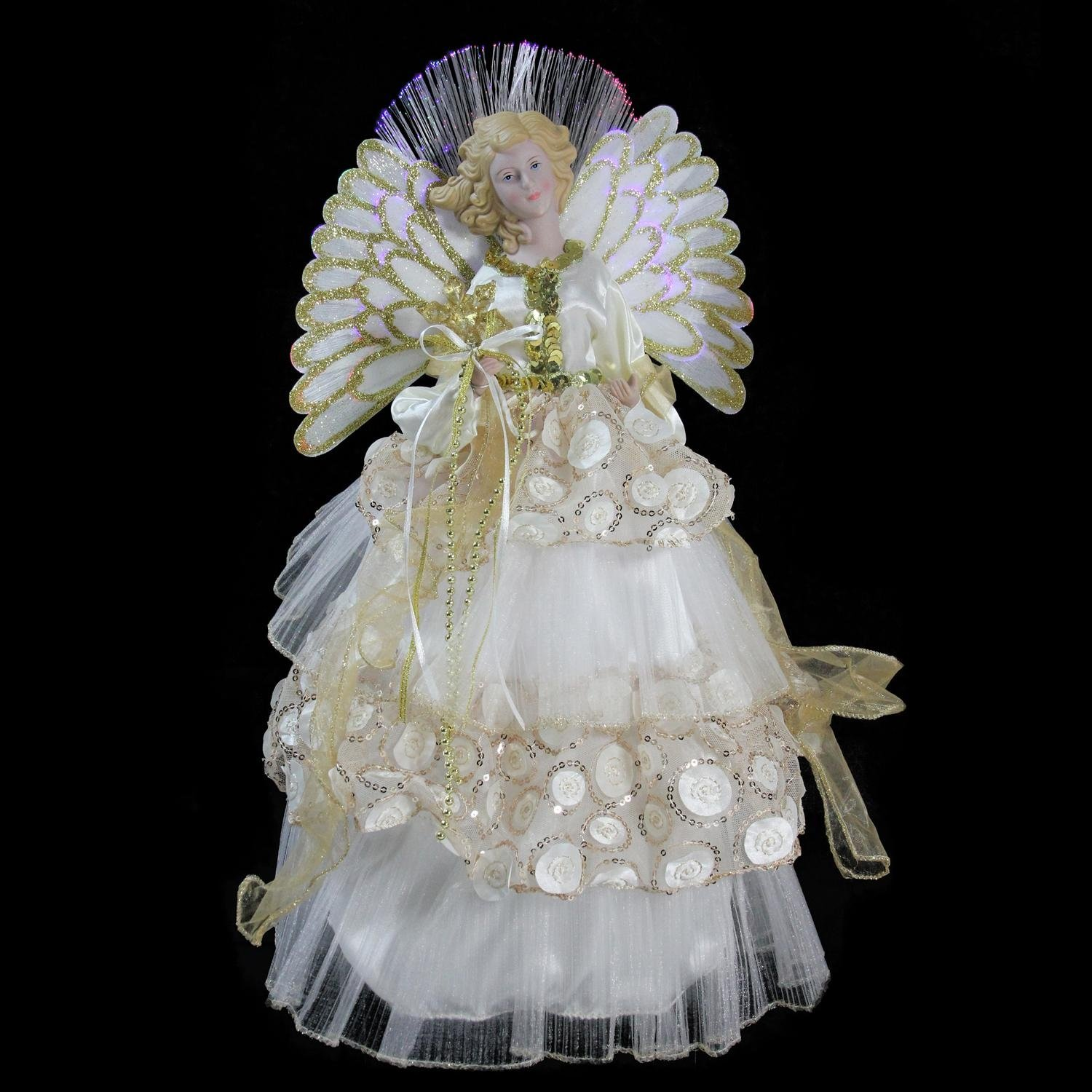 16'' Lighted B/O Fiber Optic Angel in Cream and Gold Sequined Gown Christmas Tree Topper