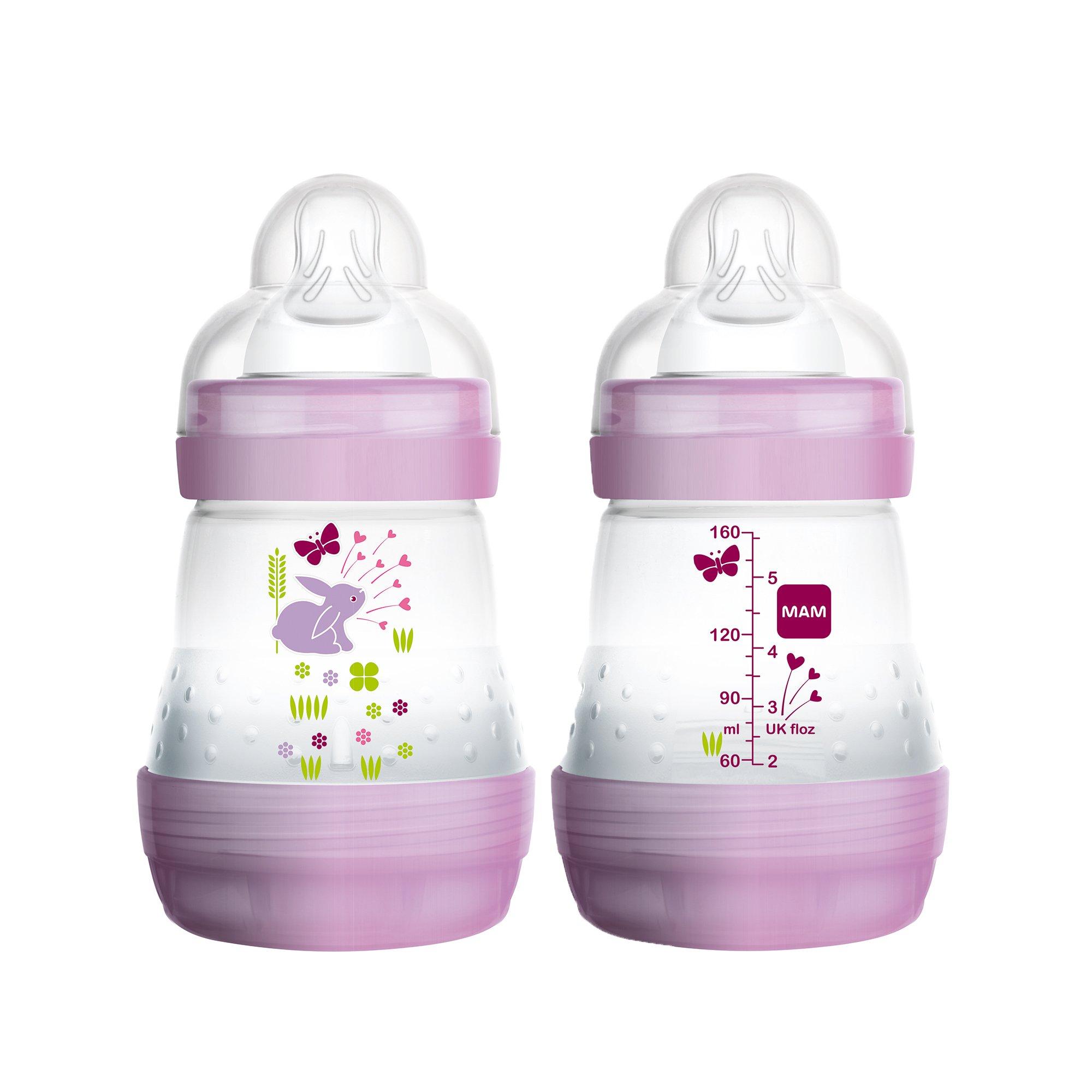 MAM Baby Bottles for Breastfed Babies, MAM Baby Bottles Anti Colic, Girl, 5 Ounces, 2-Count