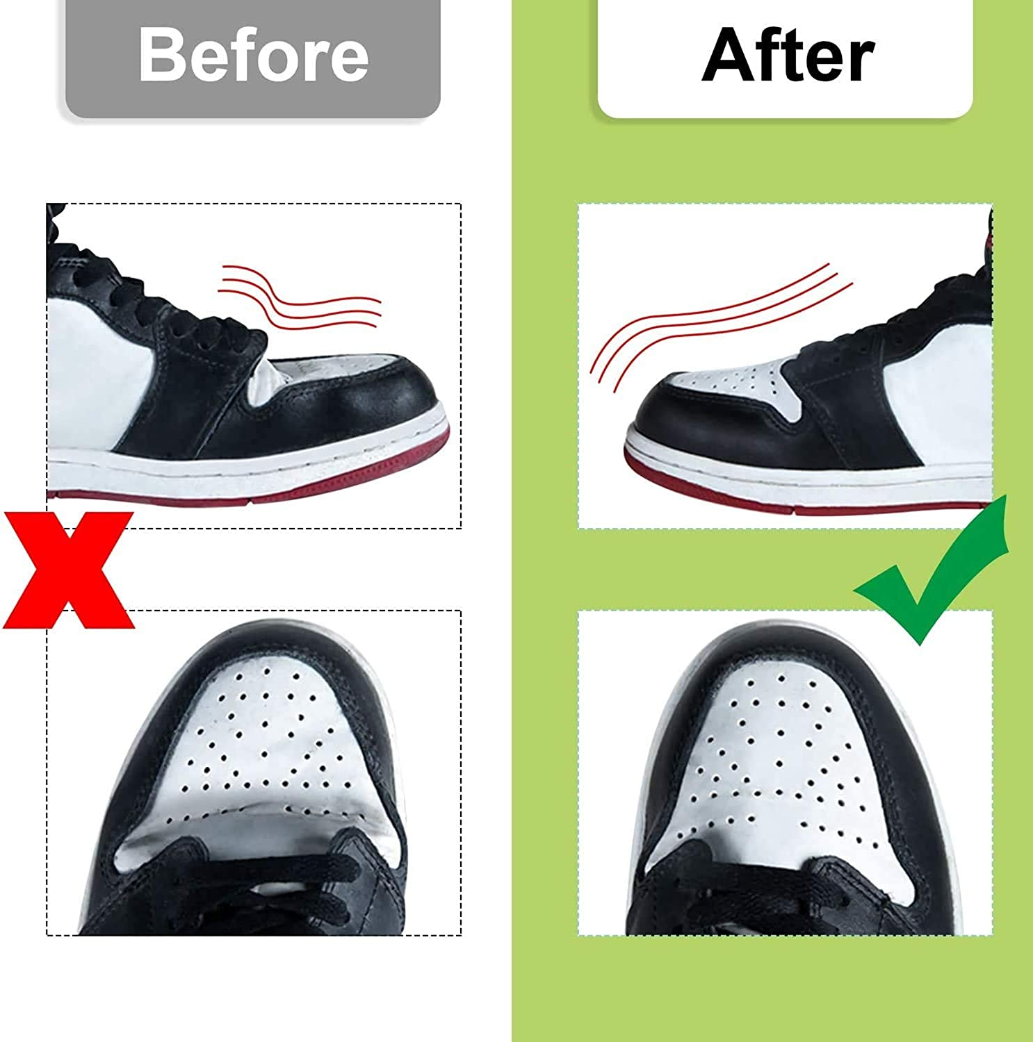 2 Pairs Sneaker Shoe Shields Black Anti-wrinkle Shoes Shields Protector Toe Box Decreaser Prevent Sneaker Shoes Crease Indentation Mens 7-12// Womens 5-8
