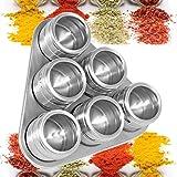 6 Potes De Porta Tempero E Condimentos Magnético Em Inox