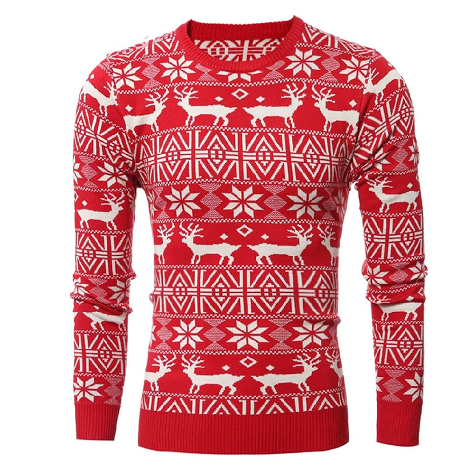 1940s Men's Fashion Clothing Styles LETSQK Mens Reindeer Snowflakes Santa Ugly Christmas Pullover Sweater  AT vintagedancer.com
