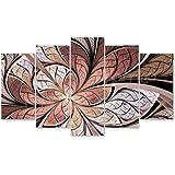 Quadro Decorativo 5 Peças Abstrato Vitral Rosê Mosaico Bege