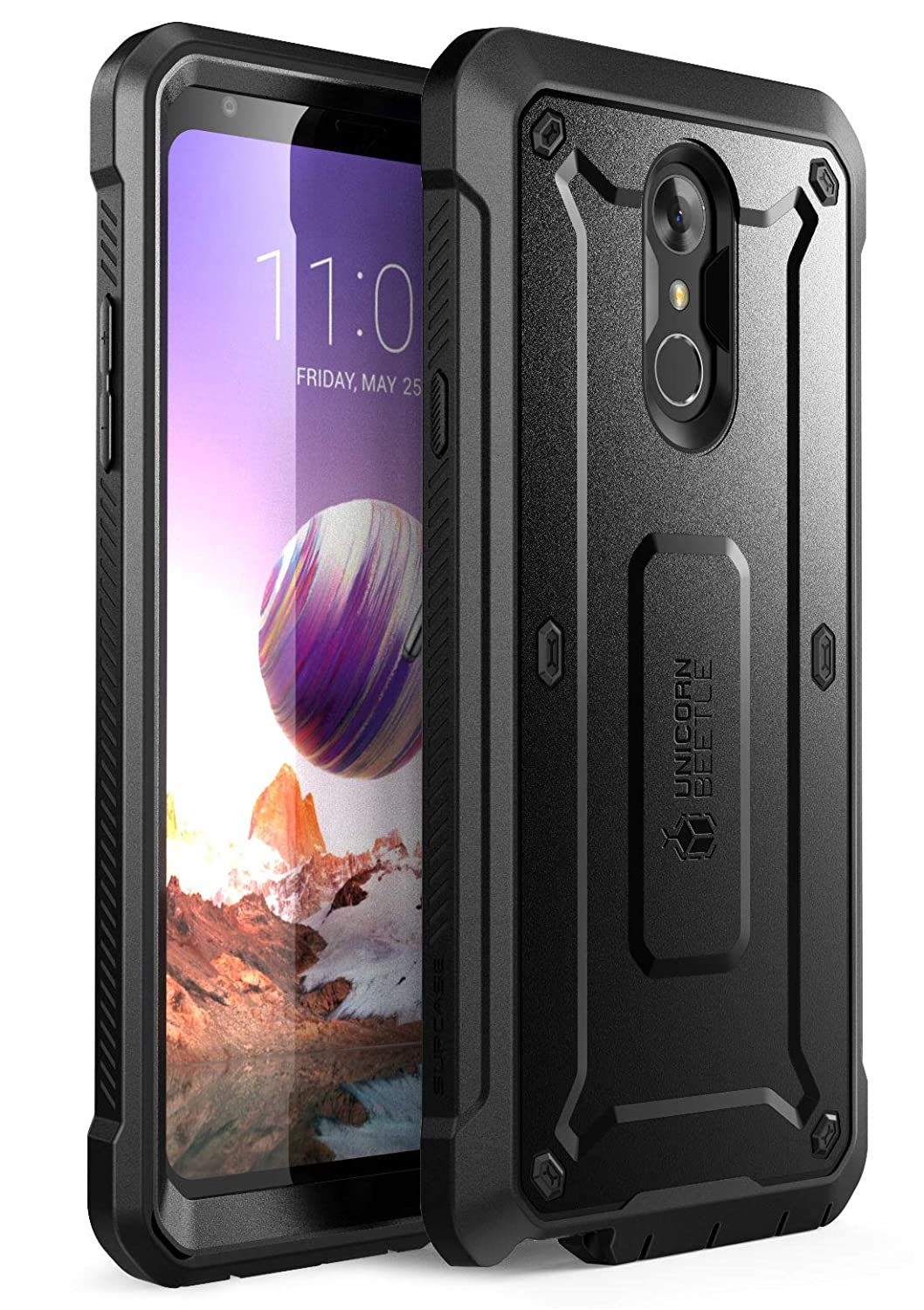 SupCase [UB Pro Series Case for LG Stylo 4, LG Stylo 4 Plus, with Built-in Screen Protector Full-Body Rugged Holster Case for LG Stylo 4 (2018 Release)- Retail Package (Black)