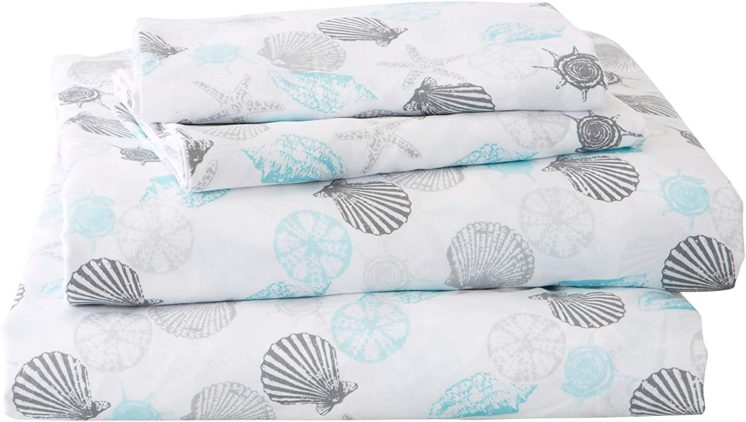 Great Bay Home Printed Coastal Microfiber Bed Sheets. Wrinkle Free, Deep Pockets, Beach Theme Sheet Set. Newport Collection (Queen, Seashell)