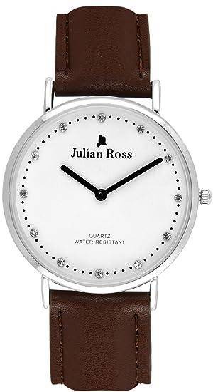 Julian Ross JR1011 Reloj de pulsera, mujer, caja 36mm, Cuarzo analógico, Correa de piel, Marca Italiana, 3 Colores (Marrón): Amazon.es: Relojes