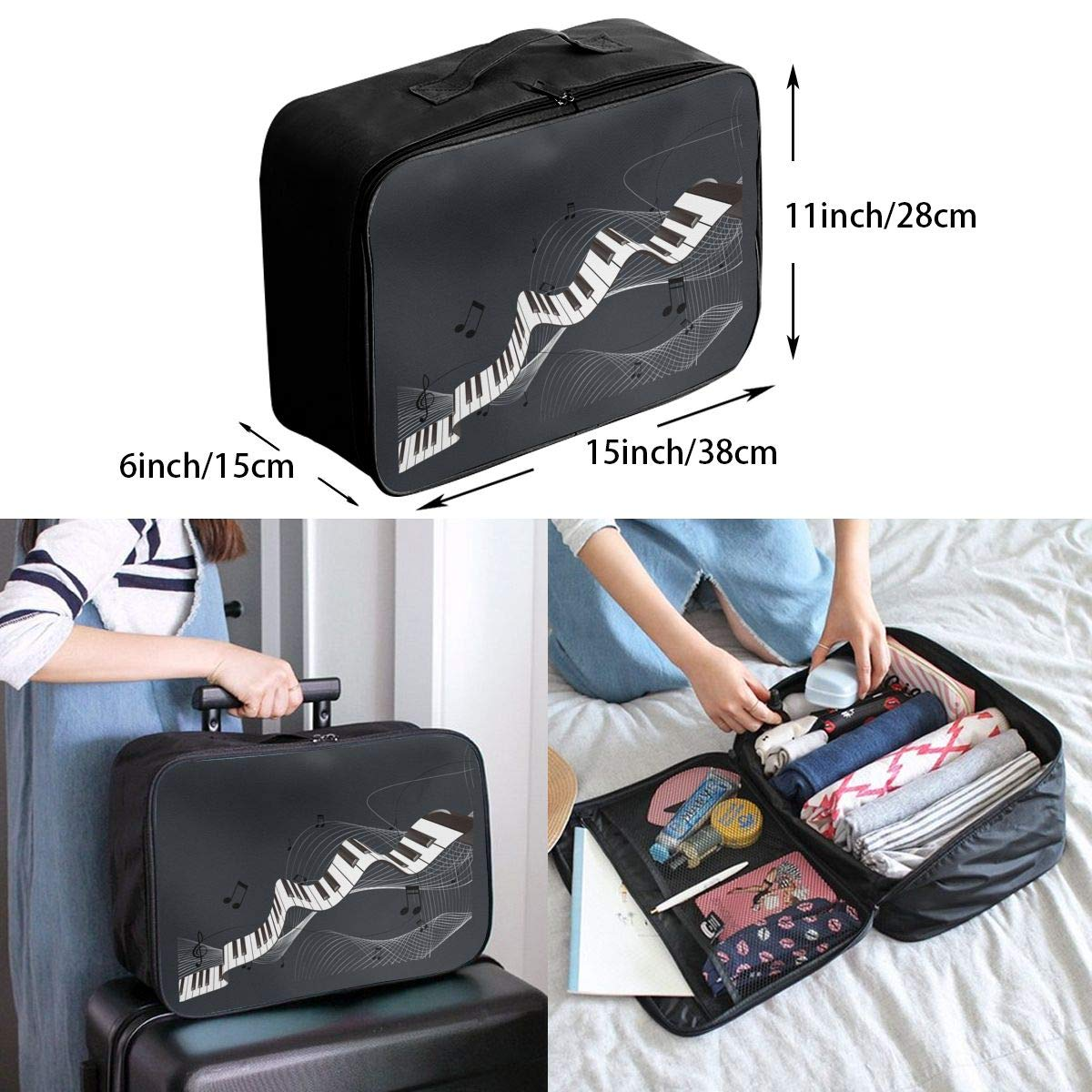Travel Luggage Duffle Bag Lightweight Portable Handbag Saxophone Large Capacity Waterproof Foldable Storage Tote