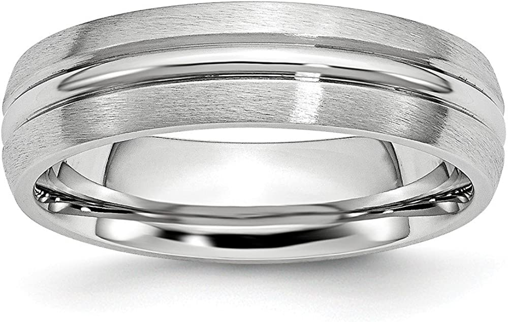 Cobalt Satin and Polished Grooved 6mm Band Size 12.5 Length Width 6